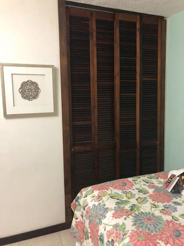 """Drawers chest  in closet; shoe organizer and hangers.  (Same bedroom, different bedspread) Gavetero dentro del """"closet"""".   Ganchos de ropa y zapatera. Same bed...different comforter. Only one queen bed."""