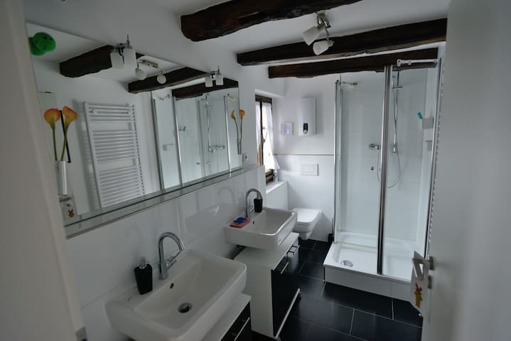 Badezimmer mit Dusch und zwei Becken