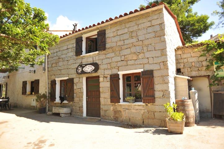 Ch 4 lits  côté rue gîte en pierre - Guitera-les-Bains