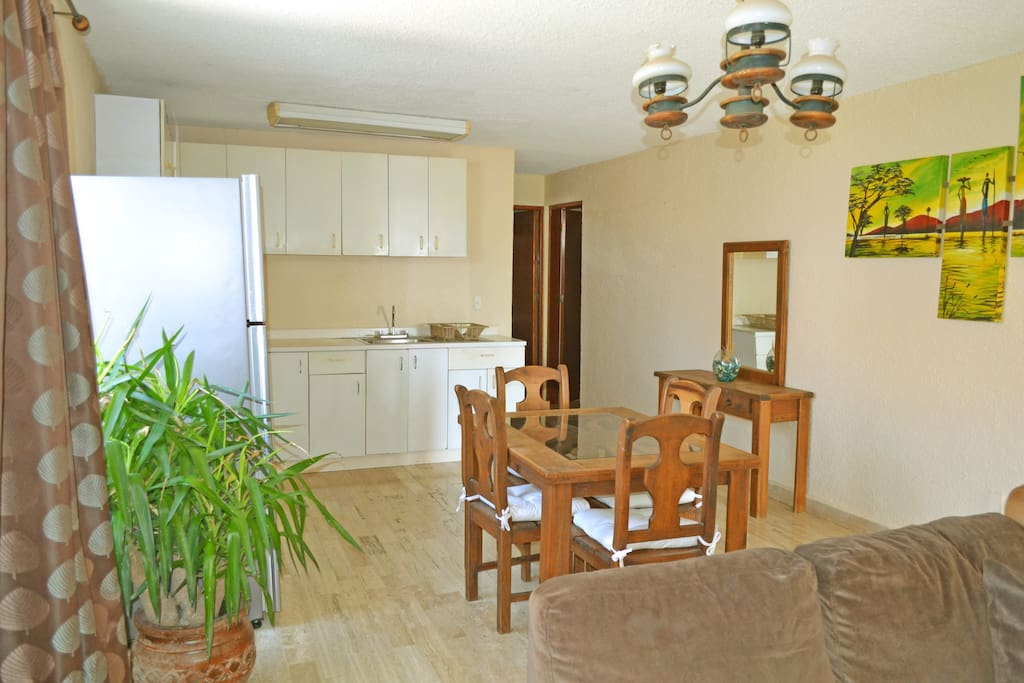 Great dining area and kitchen with brand new refrigerator.