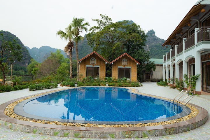 Bungalow with mountain_river_pool_garden view