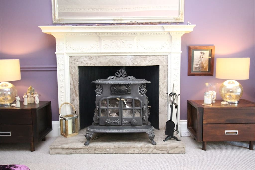 Wood Burning Stove in Main Sitting Room