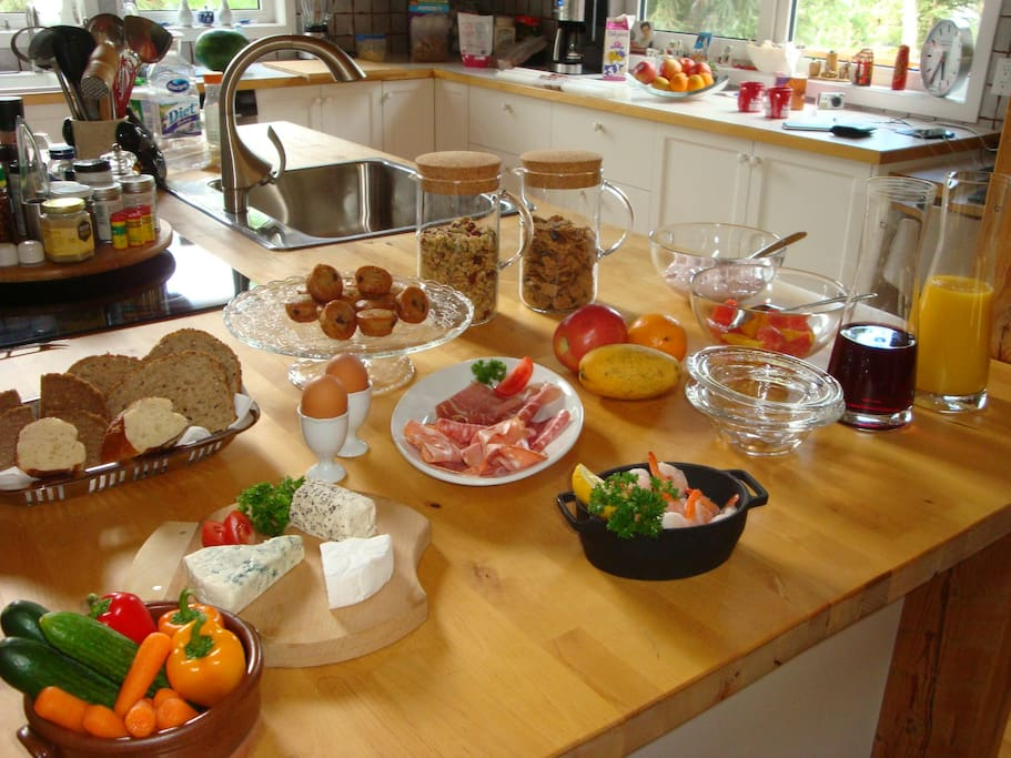 Breakfast includes; Juice, cheeses, cold cuts, fresh fruit salad, home made muesli, joghurt and a variety of breads