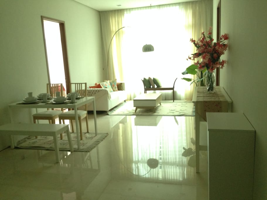Foyer, living and dining areas