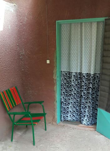 Entrance with curtains from African wax cloth