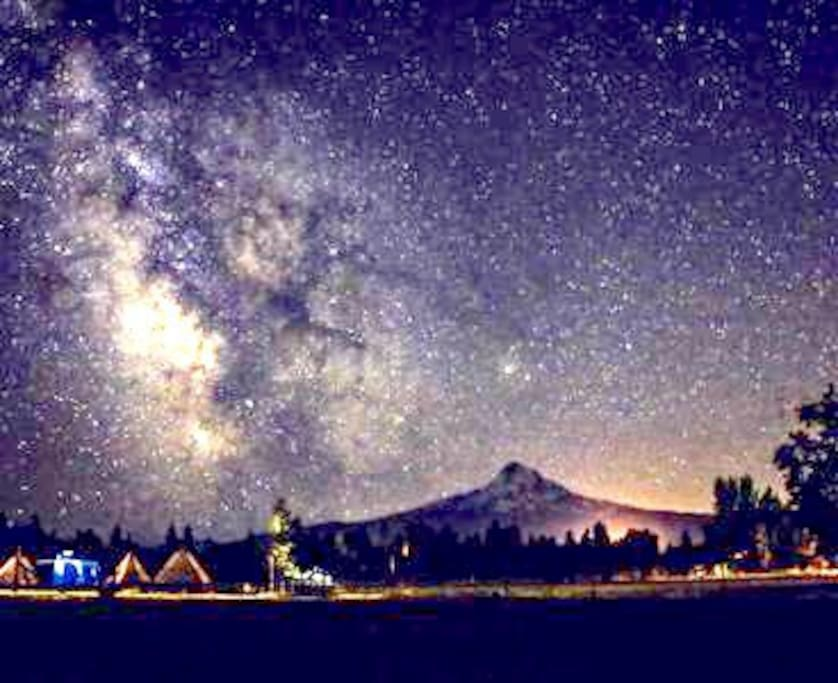 This glorious photo was taken from our back pasture during the Turner Family Reunion on July 21st 2017 of our tipi village the Milky Way and Mt Hood.