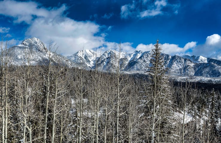 Panoramic view of Needles Mtn Range from above the tree line as viewed from our 2nd floor  uniquely spacious 102 sq. ft. deck