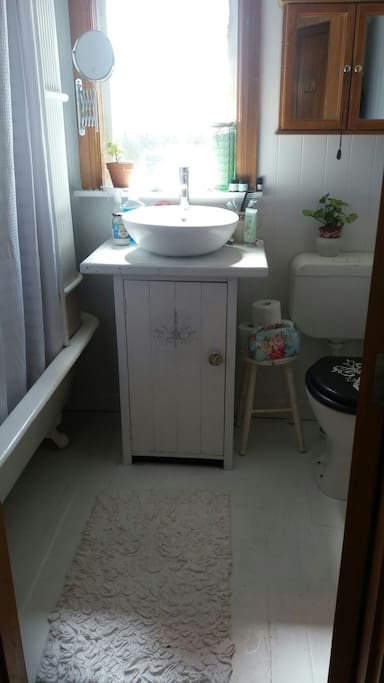 Small cosy Bathroom all painted by me..Great Tub