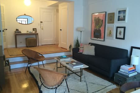 Chic, mid century modern, zen apartment in full service, white glove doorman building on prime lower Park Ave. Renovated full kitchen and bath. Lots of natural light. Building has a rooftop terrace and basement laundry. Close to every subway line!