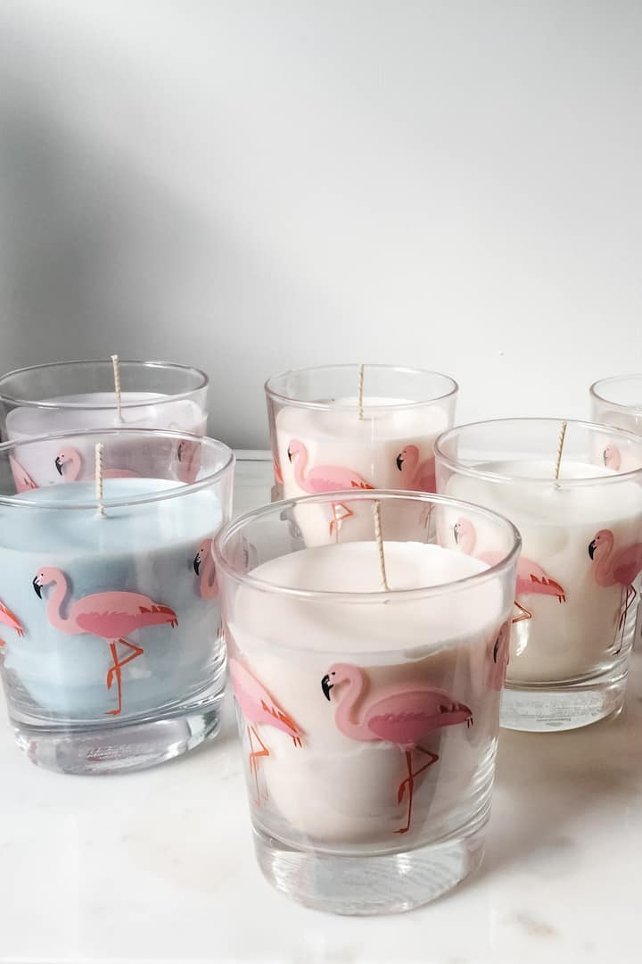 Finished flamingo soywax candles