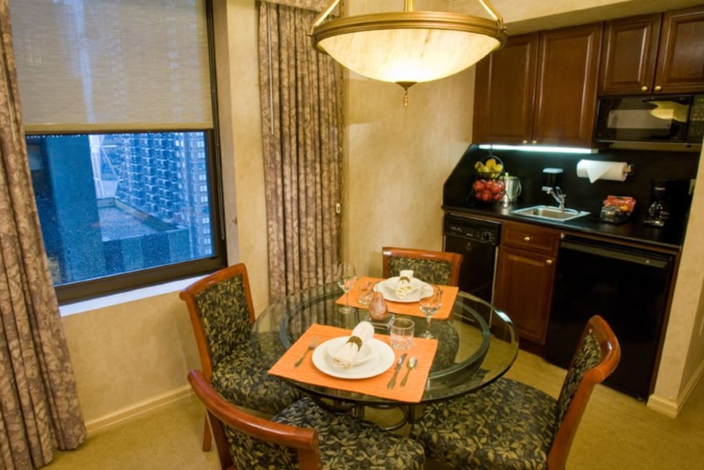 Dining area off as part of the living space.