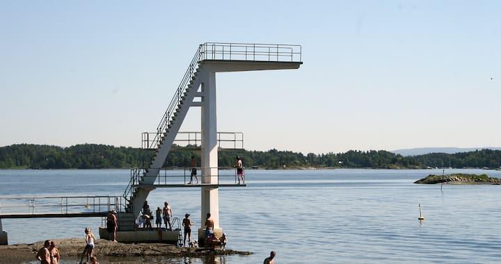 Sommerferie ved Oslofjorden med treningsrom?