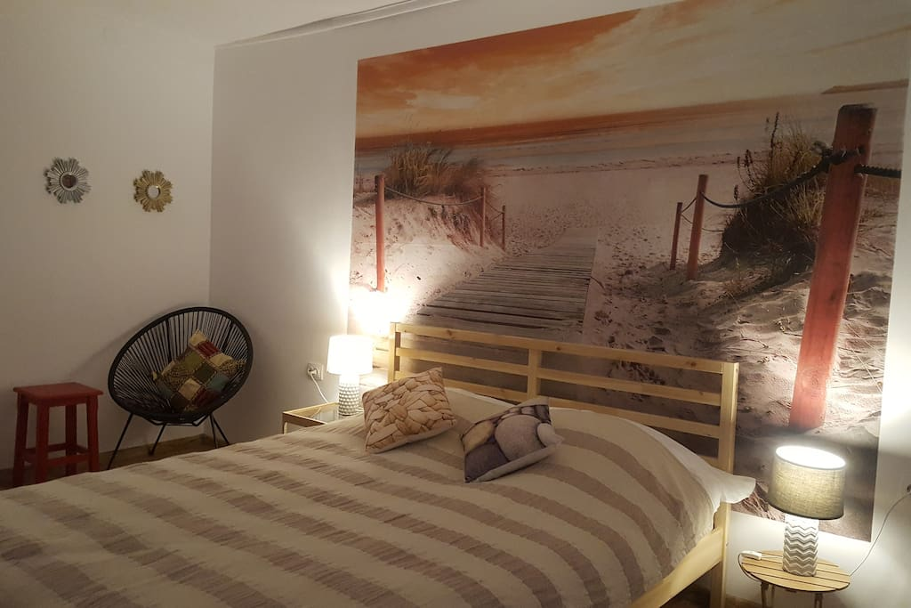 view of the bedroom during the night