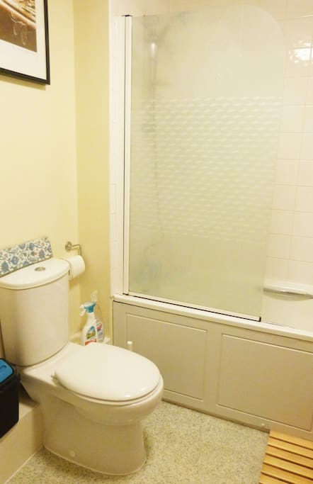 This clean and tidy bathroom has a shower, bath, sink and toilet all in fantastic condition. It has some storage space for cosmetics.
