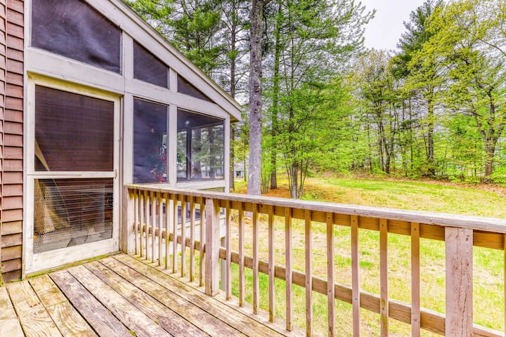 Spacious townhome with a deck, fireplace, and a shared pool!