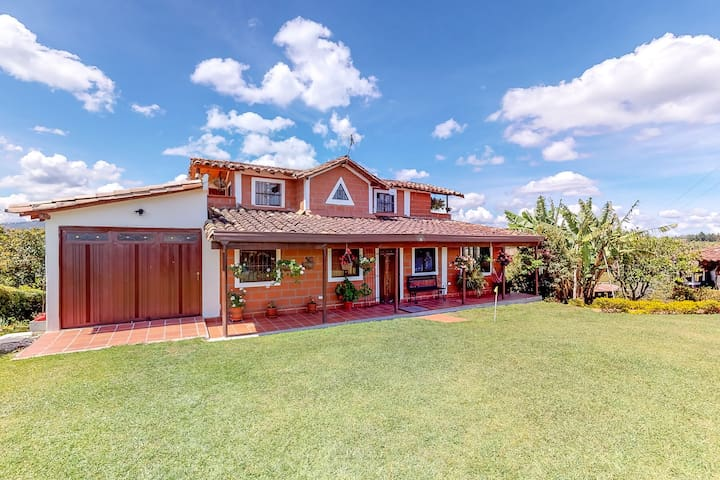 Two-level, dog-friendly farmhouse w/ a private pool, hot tub, & valley views!