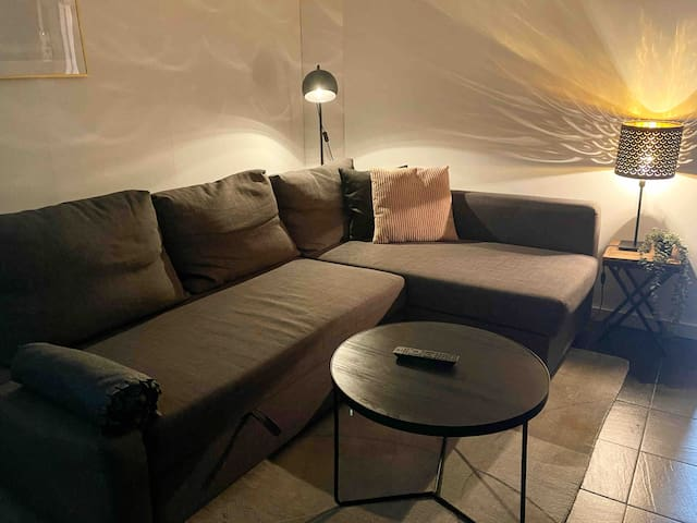 Living room with sofa that can be converted into a full bed for 2 people