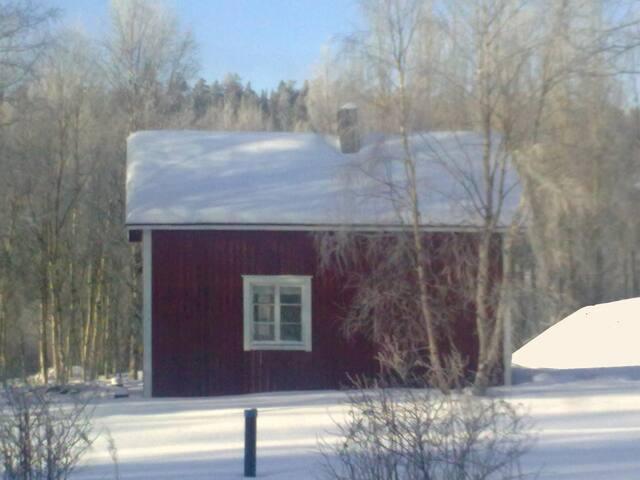 Maison en bois ROUGE aurores boréales à IVALO