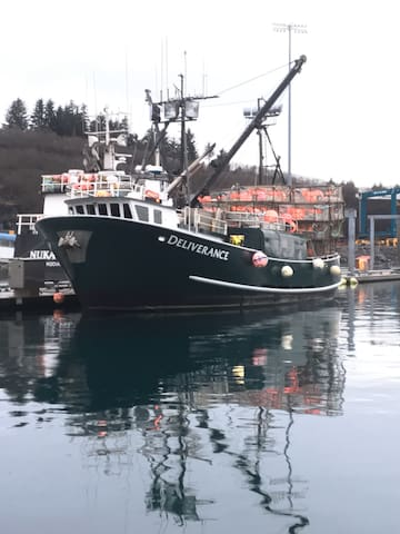 Our boat the F/V Deliverance on the ready during cod season 2019 .