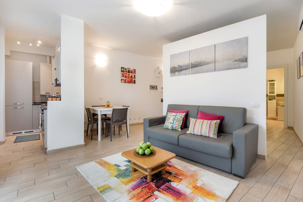 Open plan kitchen/living area with a double sofa bed and real matress large 140 cm