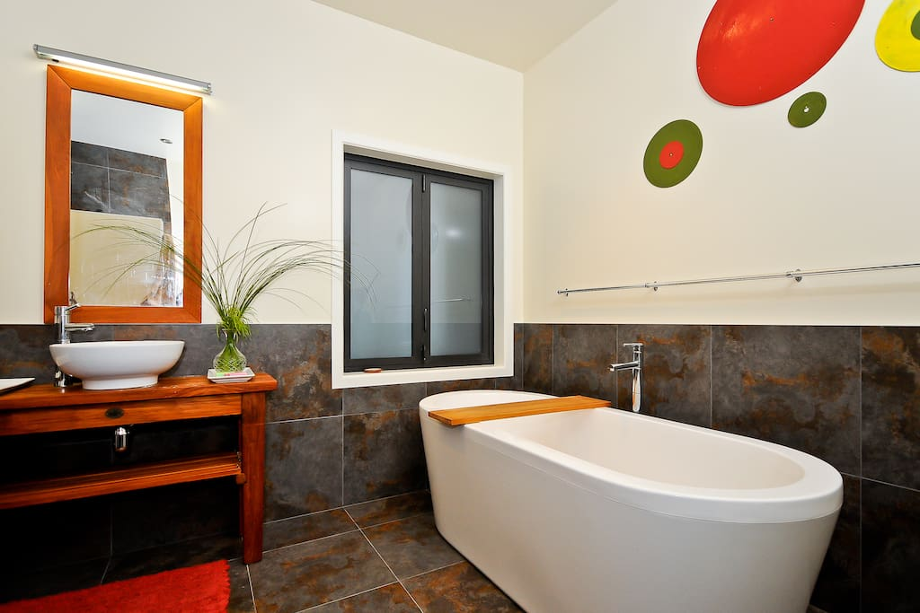 Luxury bathroom with walk-in shower and stand-alone bath.