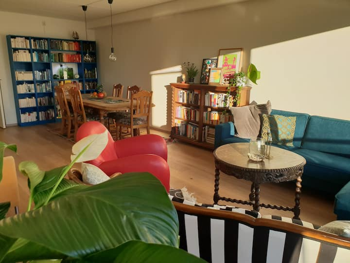Creative colourful flat with big livingroom
