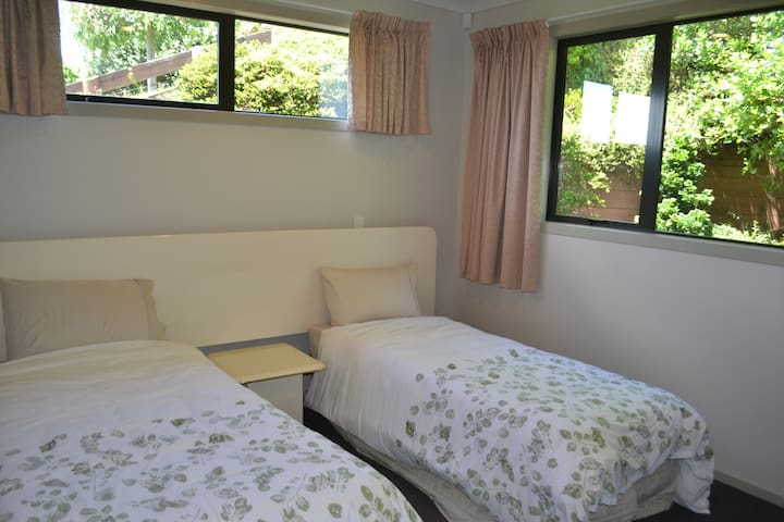 Second bedroom as 2 singles - can make into a super king by pushing 2 beds together or add a 3rd bed.