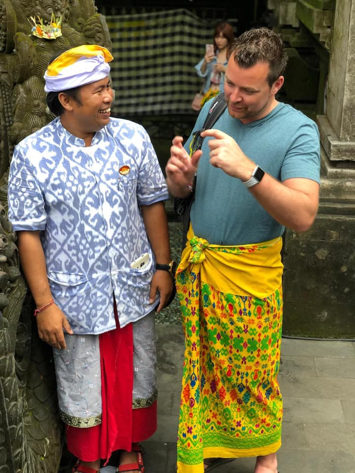 Agus with clients at water temple