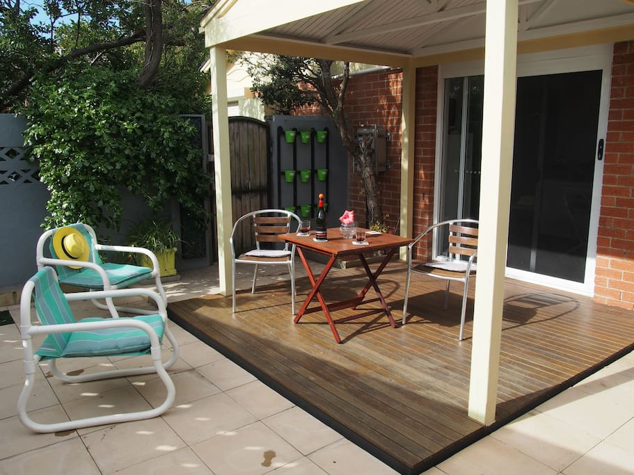 Large outdoor area with pergola for entertaining and enjoying the sunshine.
