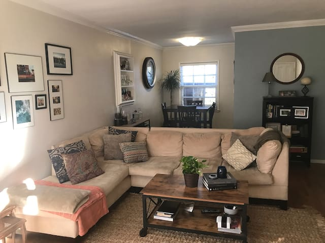 Living Room / Dining Room Combo with full sized pull out couch.