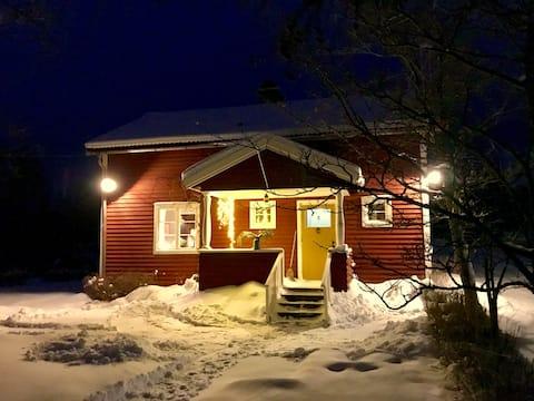 Skiing in lovely Sundborn, winter holiday Dalarna