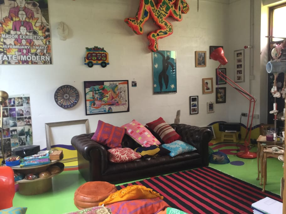 The living area is bright and colouful!
