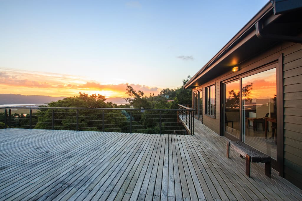 Exquisite sunrises & sunsets from one of the decks alongside the dining room.