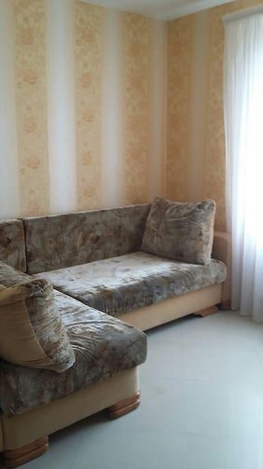 Раздвижной большой диван на 1 этаже