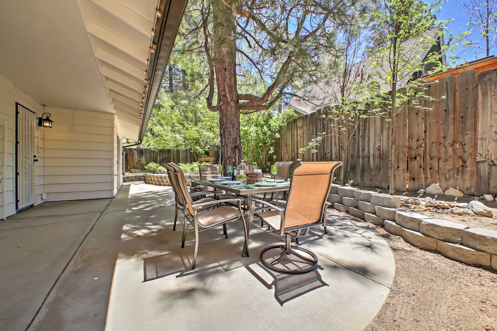 The fenced-in backyard offers a private outdoor space for you to relax and entertain in.