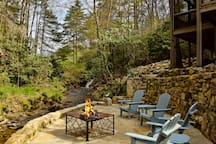 A great place to sit by the fire and listen to the water rushing by, cook some smores with the kids, have a glass of wine with friends and enjoy your stay in the mountains in Cashiers NC.