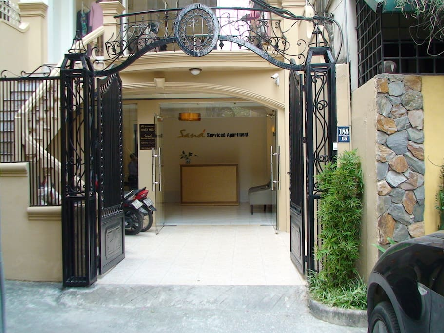 Building front gate with a 24-hours security guard
