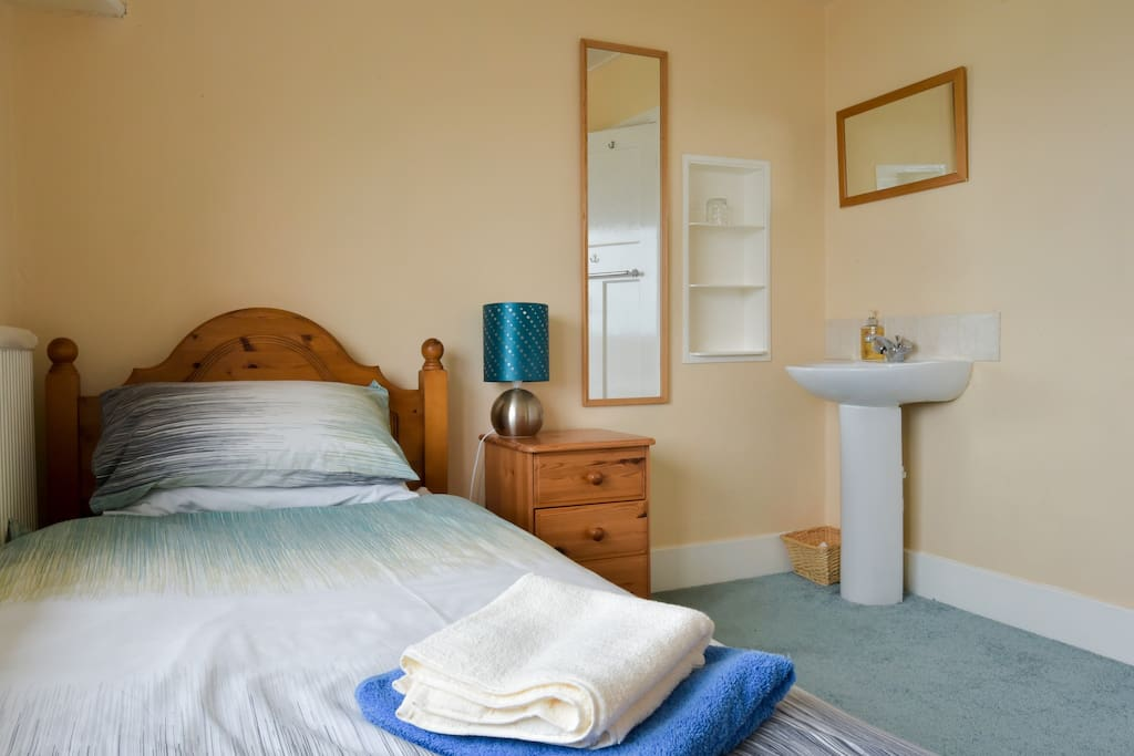 Our lovely single, sea view room - with its own wash basin