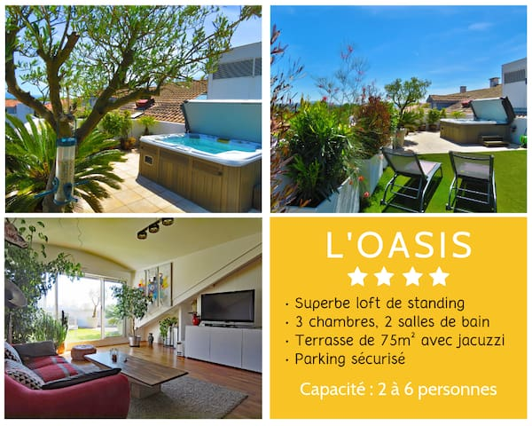 L'OASIS ★ Cosy 4 star ROOFTOP ★ JACUZZI  ★ PARKING
