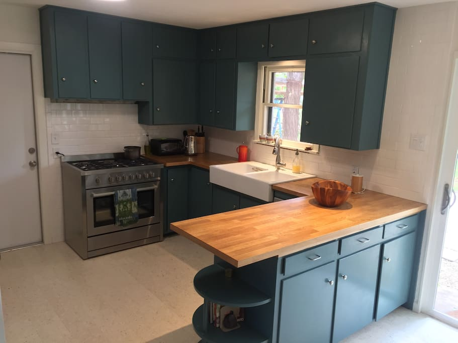 From dining room into kitchen.
