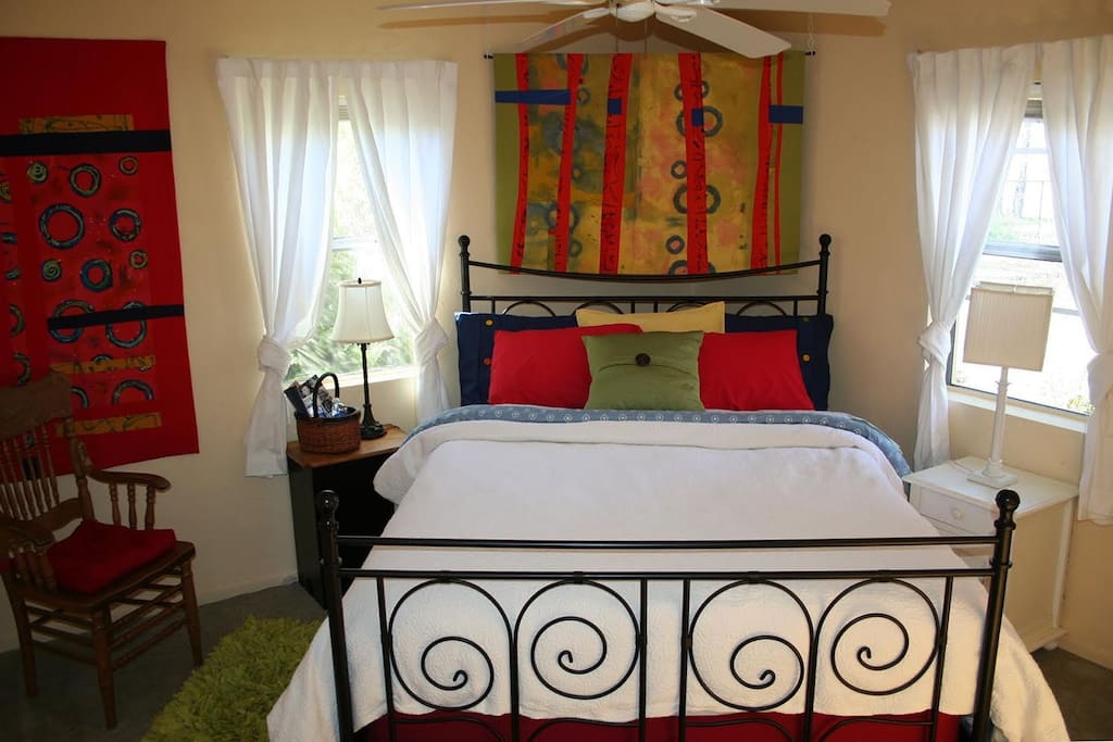 The colorful Quilt Bedroom. Simmons Queen mattress.