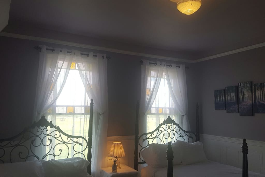 Two wrought iron queen beds with Northern window exposure.