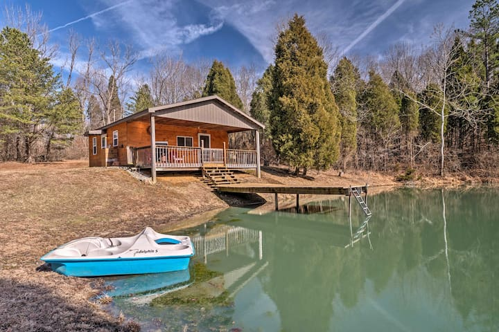 Boasting a pond and paddle boat, this home provides relaxing entertainment.