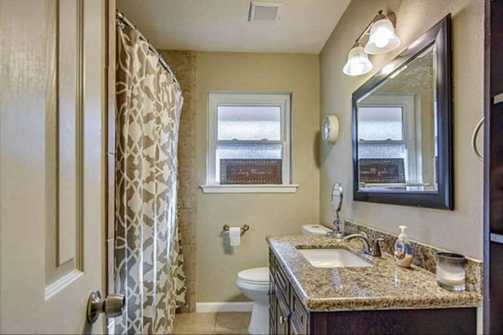 Bathroom with stand up shower and bath tub. Large vanity fits multiple people getting ready.