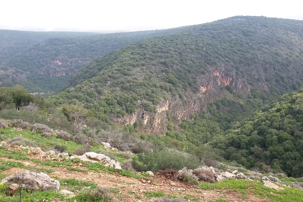 View of Nahal Kziv and Monfort trail - among the most beautiful trails of Israel