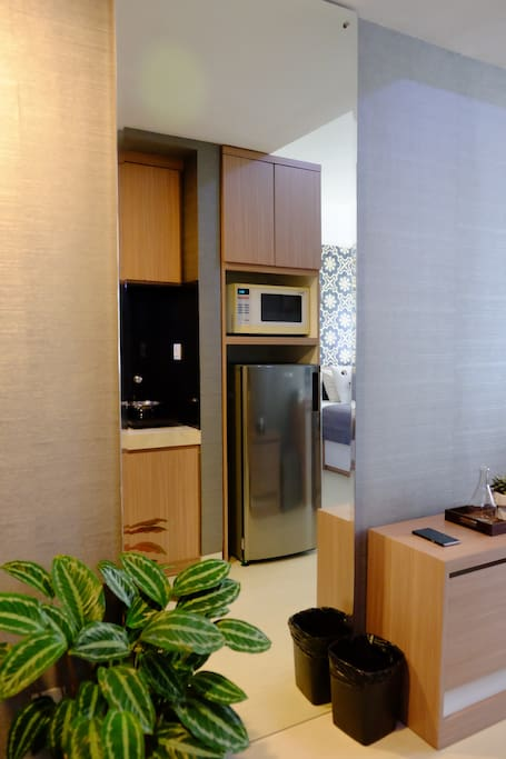 Microwave, Refrigerator and Kitchen Area