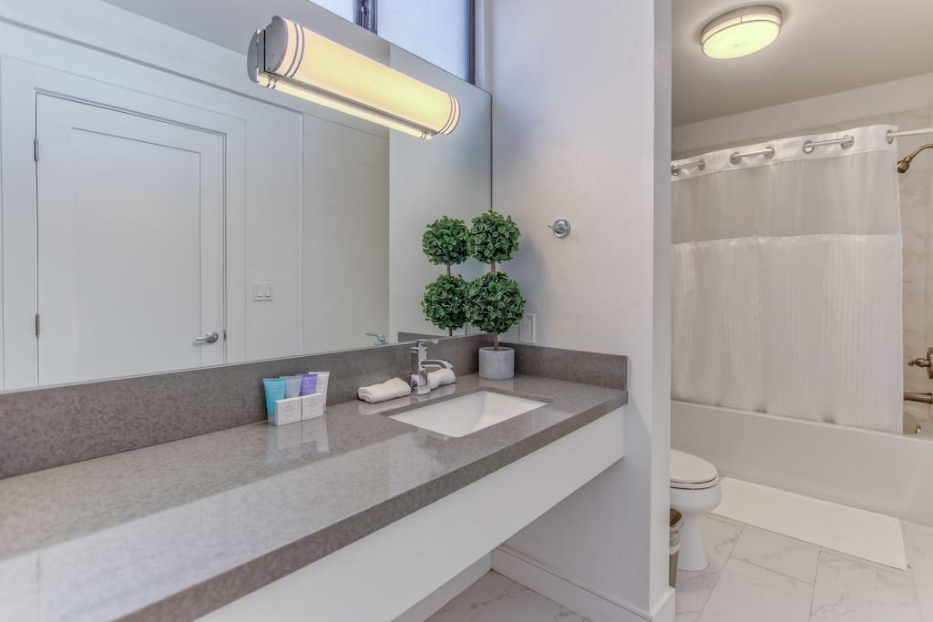 Modern designed bathroom with a large shower-tub. Vanity mirror and generous counter space for his and hers toiletry items.