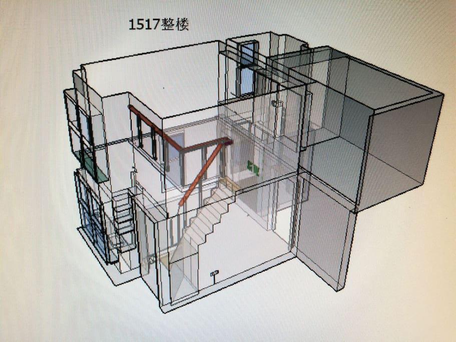 房间的上下结构透视图