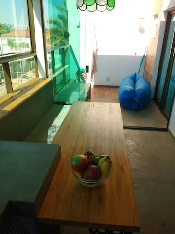 Vista da cozinha par a varanda