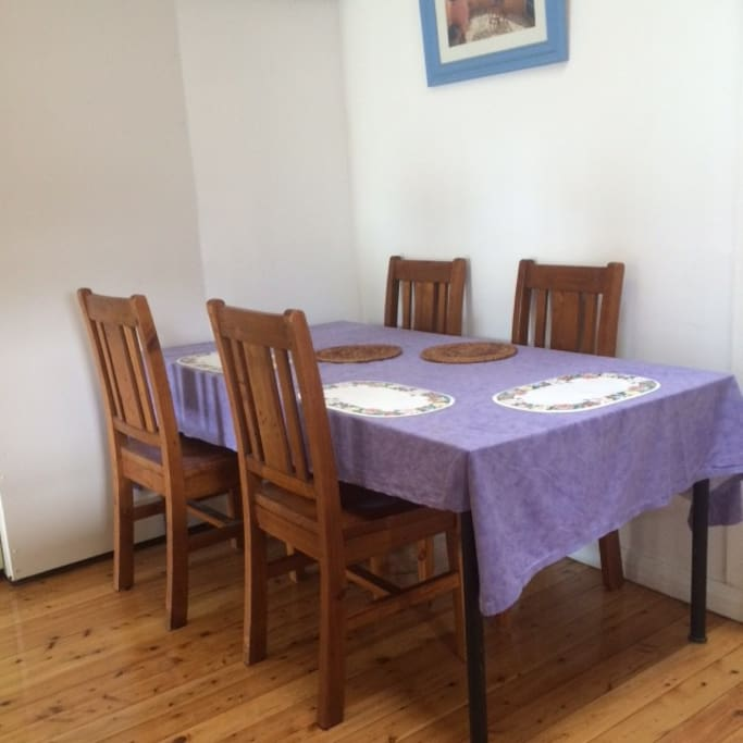 share dining area with polished boards